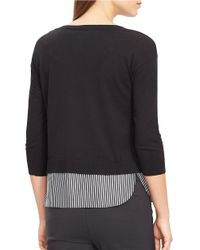 Lauren by Ralph Lauren | Black Layered Crewneck Sweater | Lyst