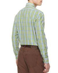 Kiton - Blue Large Plaid Woven Shirt for Men - Lyst
