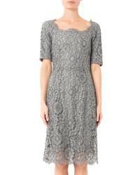 Dolce & Gabbana - Gray Macramé Lace Dress - Lyst