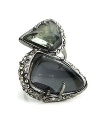 Alexis Bittar - Green Kinetic Ruthenium Stacked Cocktail Ring - Lyst