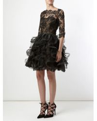 Oscar de la Renta | Black Ruffled Skirt Lace Dress | Lyst