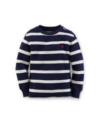Ralph Lauren | Natural Striped Waffle-knit Cotton Tee | Lyst