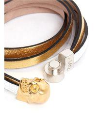 Alexander McQueen - Metallic Triple Strap Skull Leather Bracelet - Lyst