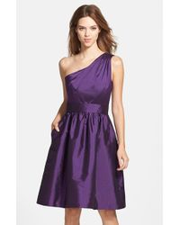 Alfred Sung | Purple One-shoulder Satin Fit & Flare Dress | Lyst