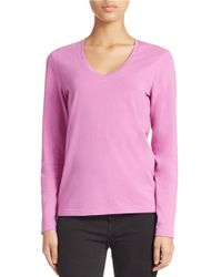 Lord & Taylor | Purple Stretch-cotton V-neck Tee | Lyst