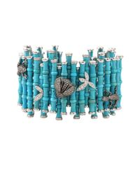 Wendy Yue | Blue Turquoise Diamond Bamboo Cuff | Lyst
