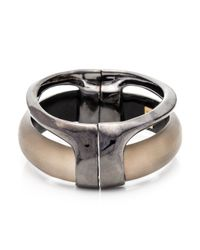 Alexis Bittar - Metallic Ruthenium Stacked Hinged Bracelet - Lyst