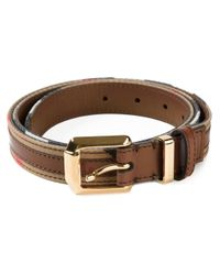 Burberry - Brown Striped Belt - Lyst