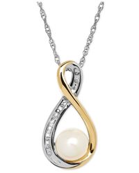 Macy's | Metallic Cultured Freshwater Pearl (6mm) And Diamond Accent Pendant Necklace In Sterling Silver And 14k Gold | Lyst