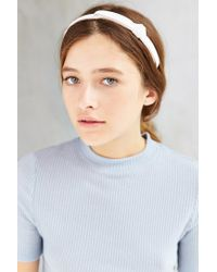 Urban Outfitters - White Leather Knot Headband - Lyst