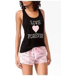 Forever 21 - Black Love Forever Pj Set - Lyst