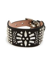 Alexander McQueen | Black 'medallion' Leather Cuff for Men | Lyst