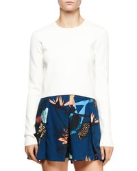 Proenza Schouler - White Long-sleeve Cutout-back Crop Top - Lyst