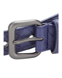 Bottega Veneta - Blue Intrecciato Leather Belt - Lyst