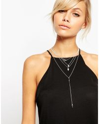 ASOS - Metallic Occasion Crystal Multirow Necklace - Lyst