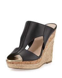 Charles by Charles David | Black Abacus Cutout Leather Wedge Sandal | Lyst