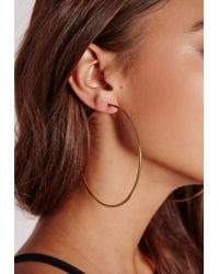 Missguided | Metallic Classic Gold Hoops | Lyst