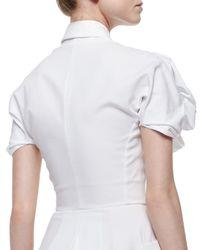 Alexander McQueen   White Puff-sleeve Pique-knit Shirtdress   Lyst