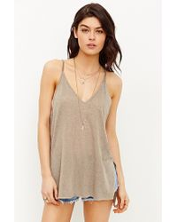 Project Social T - Natural Double-v Cami - Lyst