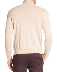 Canali - Natural Raw Edge Turtleneck Cashmere Sweater for Men - Lyst