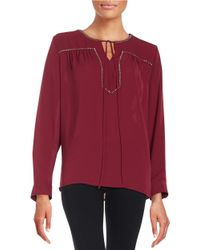 Vince Camuto | Red Embellished Peasant Top | Lyst