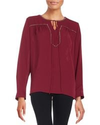 Vince Camuto - Red Embellished Peasant Top - Lyst