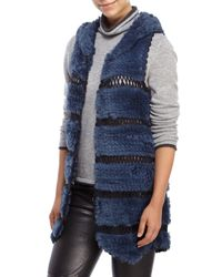 Love Token - Blue Bettie Hooded Real Rabbit Fur Vest - Lyst