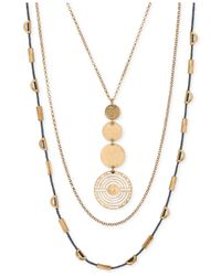 Lucky Brand | Metallic Gold-tone Geo Circle Layer Necklace | Lyst