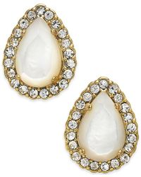 Kate Spade | Metallic 14K Gold-Plated Mother-Of-Pearl Pavé Teardrop Stud Earrings | Lyst