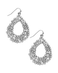 INC International Concepts | Metallic Silvertone Crystalencrusted Stone Teardrop Earrings | Lyst
