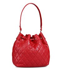 Love Moschino | Red Quilted Bucket Bag | Lyst