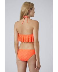 TOPSHOP - Orange Scallop Crochet Bikini Set - Lyst