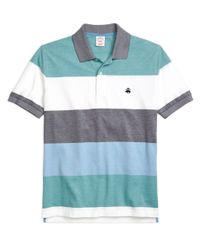 Brooks Brothers | Blue Original Fit Engineered Wide Stripe Polo for Men | Lyst