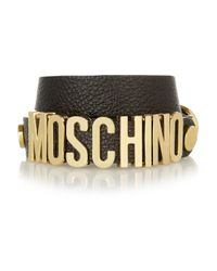 Moschino | Black Texturedleather Wrap Bracelet | Lyst