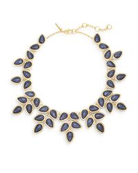 Lele Sadoughi | Blue Tropicana Havana Howlite, Marble & 14k Goldplated Palm Leaf Bib Necklace | Lyst