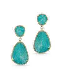 Anne Sisteron | Metallic 14kt Yellow Gold Amazonite Diamond Earrings | Lyst