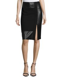 Ralph Lauren Collection - Black Paneled Leather & Wool-crepe Pencil Skirt - Lyst