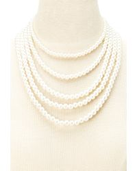 Forever 21 - Natural Layered Faux Pearl Necklace - Lyst