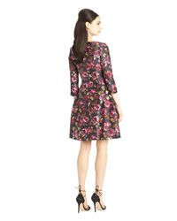 Oscar de la Renta - Purple Painted Rose Print Mikado Dress - Lyst