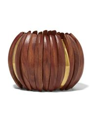 Kenneth Jay Lane | Brown Gold-plated Wood Bracelet | Lyst