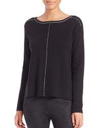 Splendid - Black Saddle Boatneck Sweater - Lyst