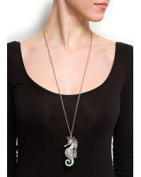 Mango - Metallic Seahorse Pendant Necklace - Lyst