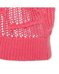 Paul Smith - Women'S Pink Knitted Cotton Sweater With Textured Panels - Lyst