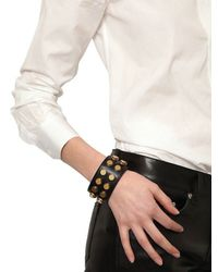 Saint Laurent - Metallic Studded Leather Large Cuff Bracelet - Lyst