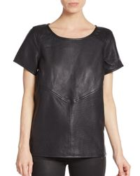 Maison Scotch | Black Perforated Paneled Leather Top | Lyst