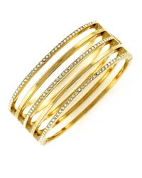 Vince Camuto | Metallic Goldtone And Crystal Stacked Bangle Bracelet | Lyst