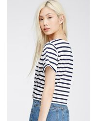 Forever 21 | Blue Tie-front Striped Tee | Lyst