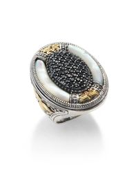 Konstantino | Metallic Ismene Mother-Of-Pearl, Black Spinel, 18K Yellow Gold & Sterling Silver Large Oval Ring | Lyst