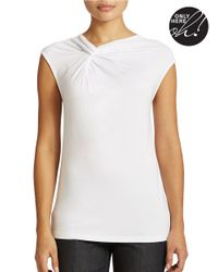 Lord & Taylor | White Plus Solid Twist-neck Top | Lyst