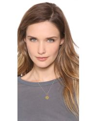 Sarah Chloe | Metallic Eva Engraved Pendant Necklace - F | Lyst